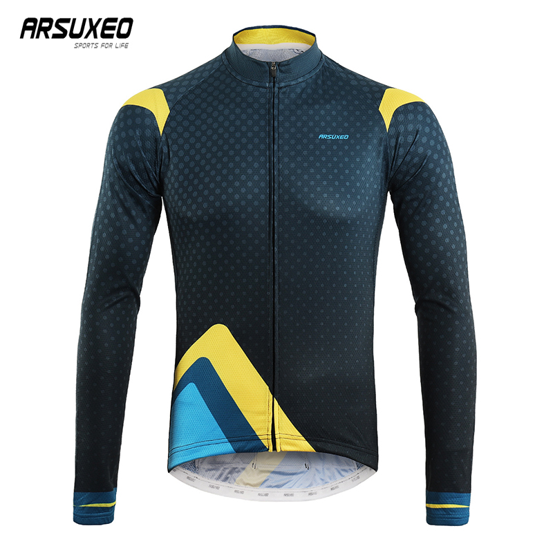 ARSUXEO Professional Cycling Jersey Long Sleeve Man Bicycle Jersey Breathable MTB Jersey Printing Mountain <font><b>Bike</b></font> <font><b>Equipment</b></font> image