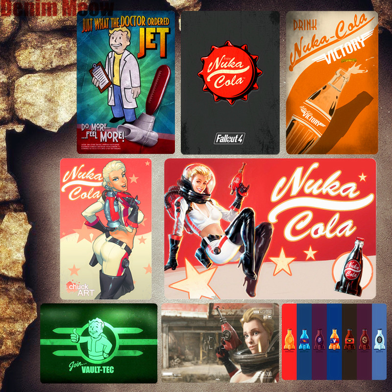 Vault-Tec Vintage Metal Plate Club Bar Gaming Room Decoration Signs Fallout  Wall Art Poster Nuka Cola Stickers Home Decor MN88