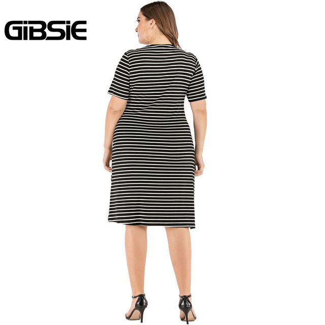 GIBSIE Plus Size V-Neck Short Sleeve Striped Ruffles Midi Dress Women Summer Casual OL High Waist Female Slim Bodycon Dresses 2