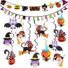 Adorno colgante de Halloween para niños, banderín de dibujos animados, bate de bruja, accesorios de diseño, decoraciones para Halloween, suministros para fiesta en casa