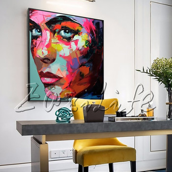 Portrait Young Woman Side Face Palette knife Oil painting christmas figure canva Hand painted Francoise Nielly wall Art picture