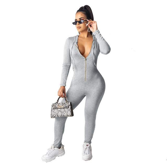 HAOOHU Hooded Rompers Jumpsuits & Rompers Stylish Hoodies Women color: Black|Gray|Red