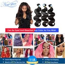 新スターブラジル実体波の毛 3 バンドル 100% つのドナー厚い人間の髪織りエクステンション未処理 10A髪織り