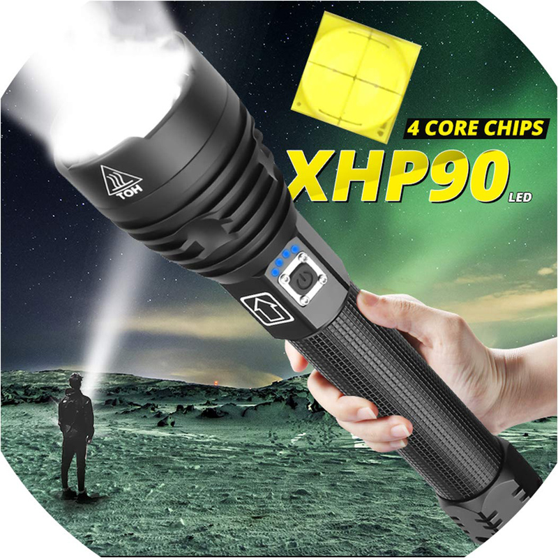 T20 Super Bright XHP90/XHP70 LED Flashlight High Lumens Zoomable Rechargeable Power Display Powerful Torch 26650 Handheld Light
