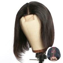 Peluca de Bob corto con cierre de encaje, 2x6, pelucas de cabello humano para mujer, Remy brasileño con línea de pelo Natural prearrancada, peluca con malla frontal