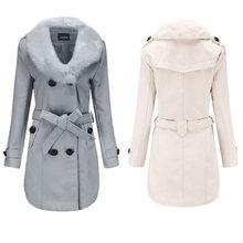Женское шерстяное пальто средней длины Женская ветровка зимняя