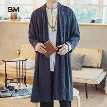 Mens Long Length Windbreaker Jacket Coat Summer Thin Kimono Coat Vintage Male Jackets Clothes 2019 Plus Size Clothing