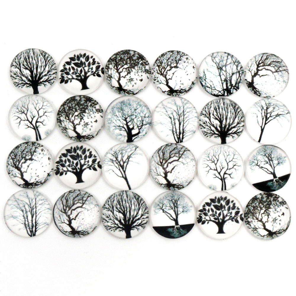 50pcs/Lot 12mm Photo Glass Cabochons Mixed Black Tree Cabochons For Handmade Bracelet Earrings Necklace Bases Settings-C7-05