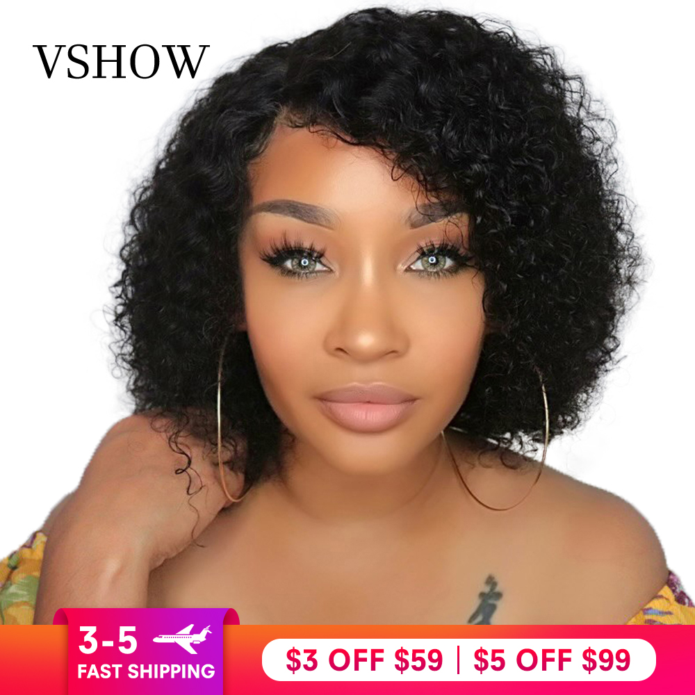 VSHOW 13X4 Brazilian Water Wave Short Bob Wigs With Baby Hair Remy Lace Front Human Hair Wigs 130% 150% 180%  Lace Front Wigs