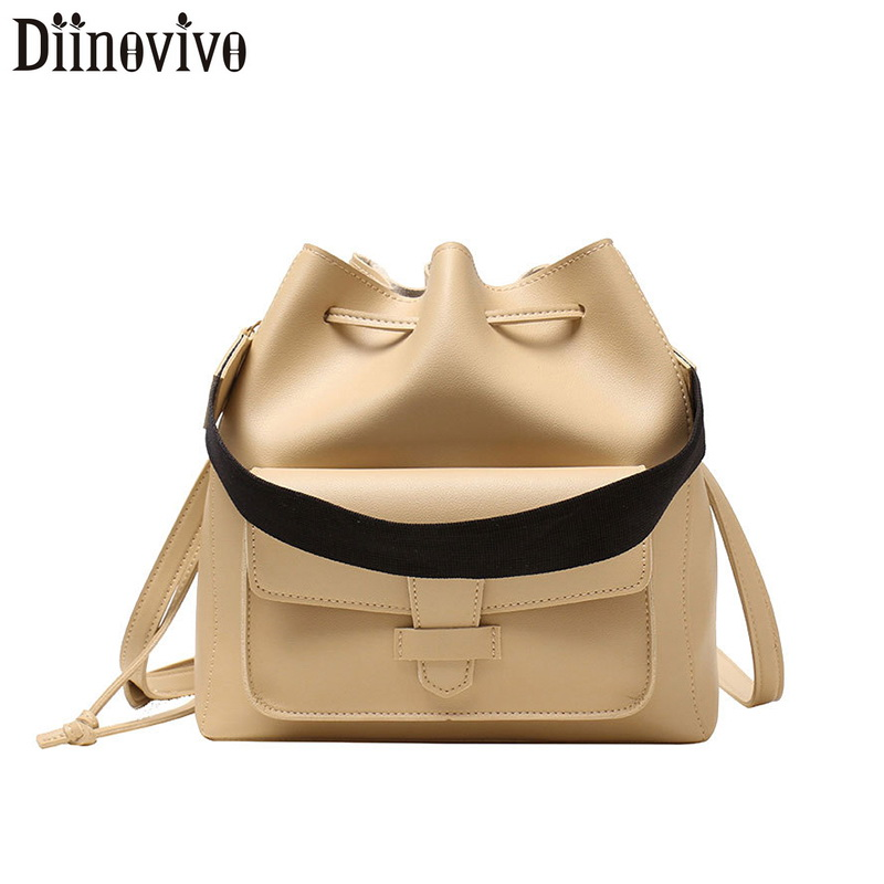 DIINOVIVO Vintage Bucket Bag For Women Handbags Lady PU Leather Bags Female Large Capacity Shoulder Messenger WHDV1254