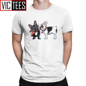 Beso francés perro Bulldog francés amante de los hombres T camisa Vintage Camiseta de algodón gráfico 3D imprimir Camisas Hombre de gran tamaño