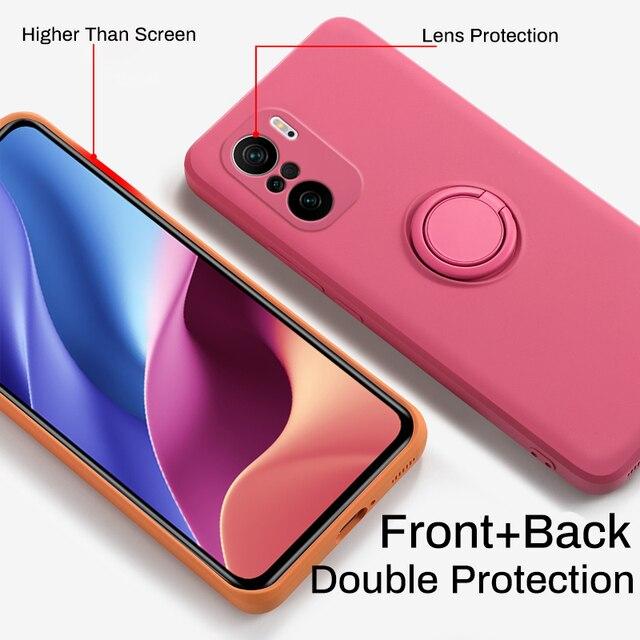 LOVECOM Original Soft Liquid Silicone Case For Xiaomi Redmi Note 10 9 9S Pro Ring Holder Strap Cover For Mi Poco X3 10T Lite 3