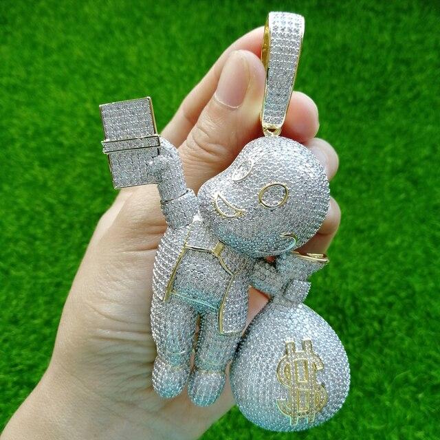 Tamanho grande de alta qualidade de bronze cz pedras dos desenhos animados dinheiro colar pingente hip hop jóias bling gelado cn044b