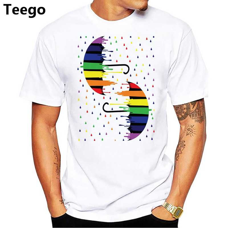 Homme Pakaian Lengan Pendek T-shirt Rainbow Payung Printing Tees
