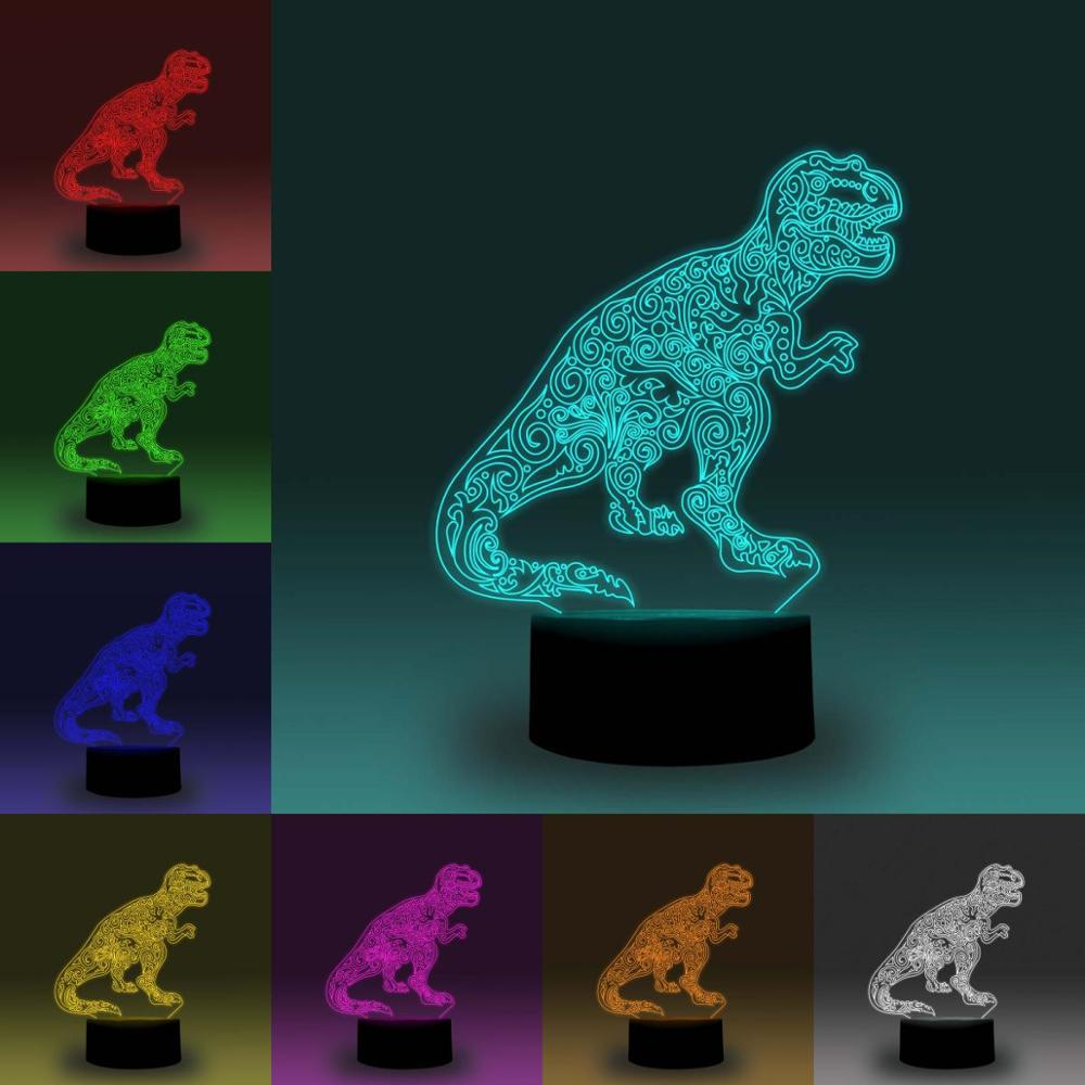 NiteApps 3D Tyrannosaurus Rex Dinosaur RGB LED Night Light Desk Table Illusion Lamp Holiday Birthday Gift APP/Touch Control