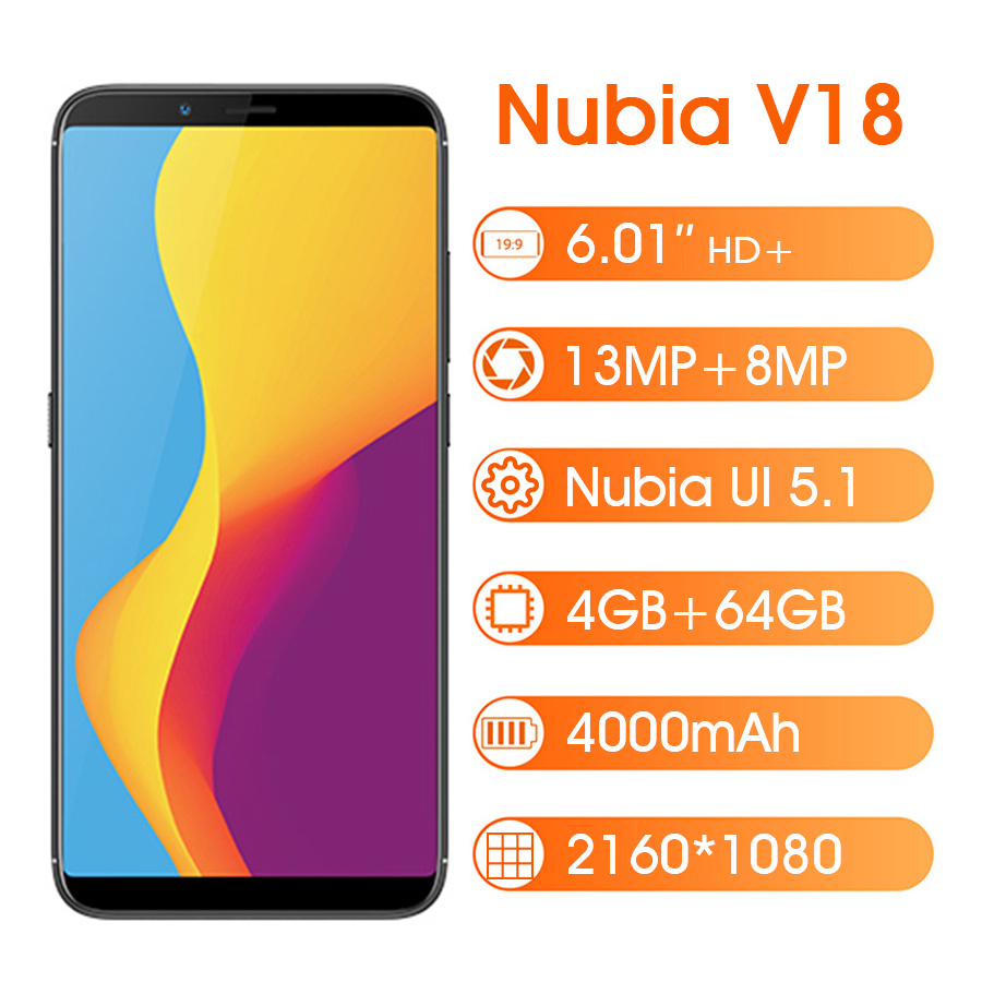 Global Version ZTE Nubia V18 4GB 64GB 6.01 Smartphone Snapdragon 625 2160*1080 Octa Core 18:9 4000mAh 13MP Mobile Phone image