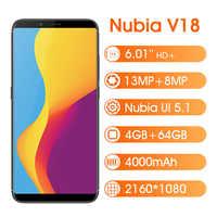 "Version mondiale ZTE Nubia V18 4GB 64GB 6.01 ""Smartphone Snapdragon 625 2160*1080 Octa Core 18:9 4000mAh 13MP téléphone portable"
