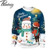 Фантазия 3d Печатный свитер новогодний пуловер Снеговик Санта