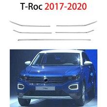 สำหรับ T Roc 17 20 5PCS โครเมี่ยมพลาสติกกลางด้านหน้าย่าง Grille Molding Trim สำหรับ VW T Roc 2017 2018 2019 2020