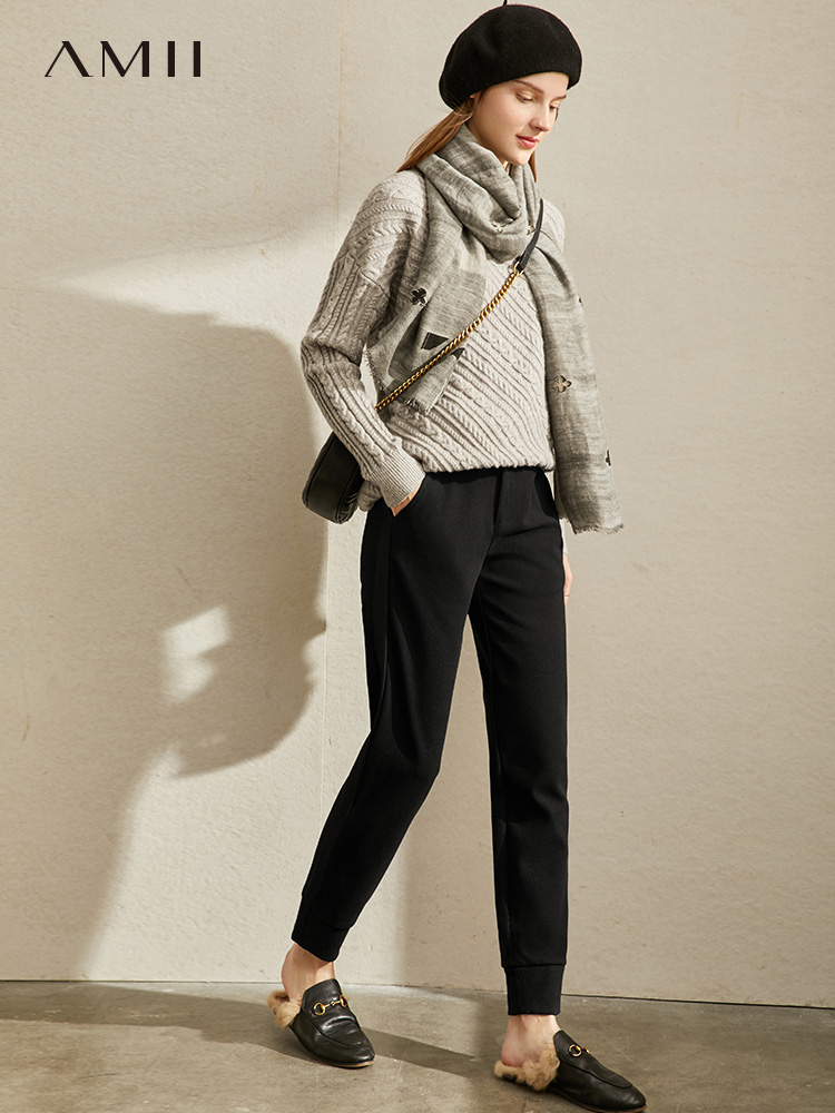 Amii Minimalist Knitted Pants Autumn Winter Women Casual Solid Loose Female Straight Pants 11970561