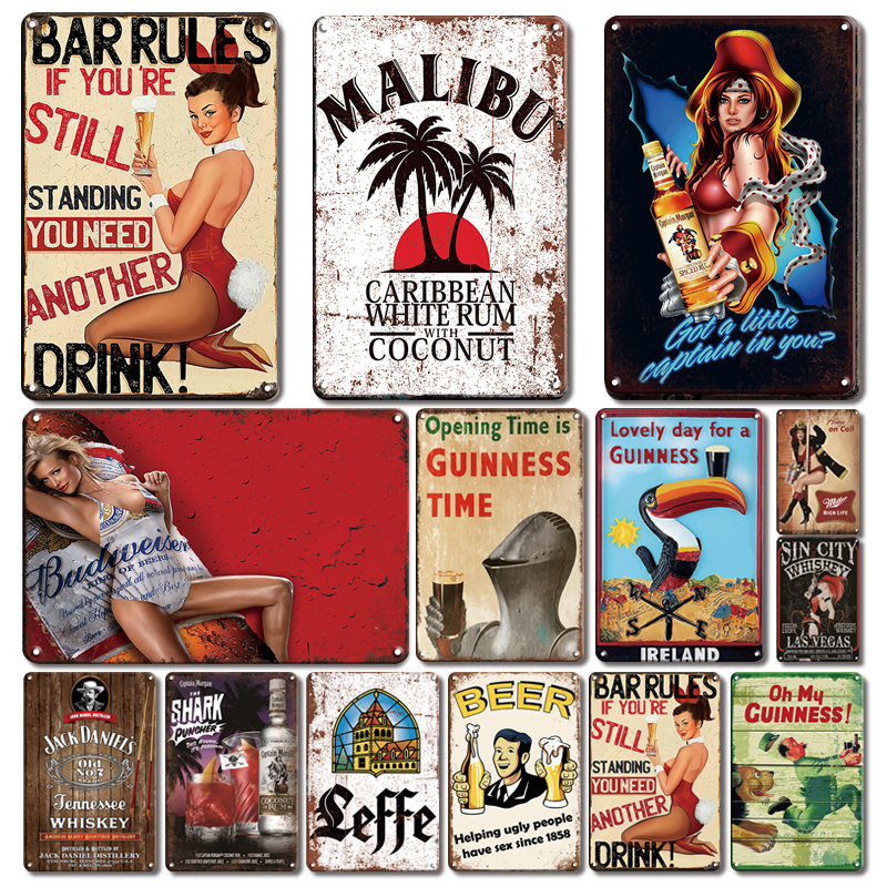 Vintage Ireland Beer Poster Metal Sign Retro Hot Sexy Girl Tin Plate Home Decor Tiki Bar Pub Decorative Plaque Art Wall Signs