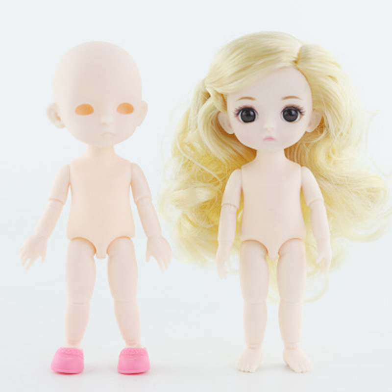 16CM BJD Dolls Lovely Mini Doll SD Joint Fashion Voxel Head With Shoes Normal Skin Plastic Body Dolls Accessories For Girls Gift