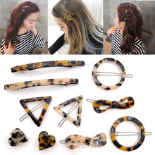 2019 New Japan Style Amber Acrylic Hair Clips Geometric Round Hairpin Leopard Heart Shape Women Hair Acccessories Barrettes(China)