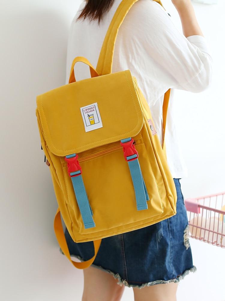 Korean Canvas Women Gray Backpack Harajuku Kawaii Travel School Bag Pack For Teenage Girls Mochila Cute Bagpack Yellow Black