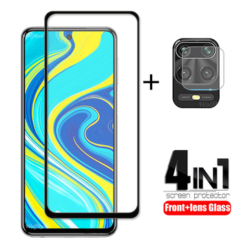 4-in-1 For Xiaomi Redmi Note 9 S Glass For Redmi Note 9 Tempered Glass Full Glue Screen Protector For Redmi Note 9S Camera Glass 2 in 1 protective camera lens glass for redmi note 9s 9 s screen protector tempered glass for xiaomi redmi note 9 pro note9 pro