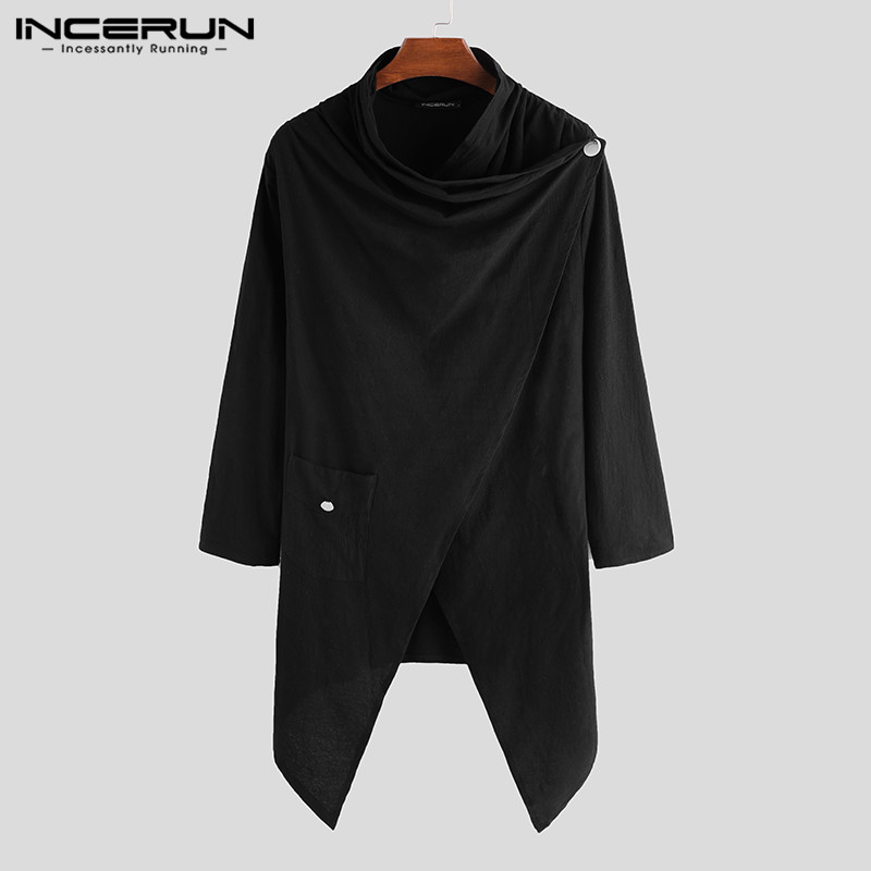 INCERUN Fashion Men Cloak Punk Style Solid Long Sleeve Irregular Cape Cotton Japanese Style Men Trench Coats Streetwear 2020 3XL