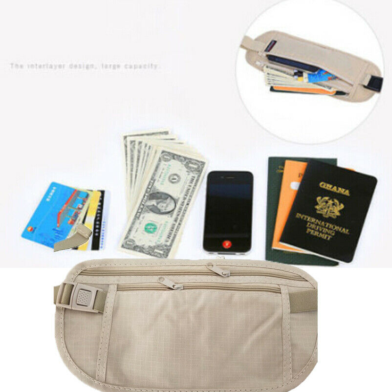 Women Portable Basic Zipper Pouch Hidden Wallet Passport Money Bags Waist Belt Bag Slim Secret Casual Solid Waist Packs