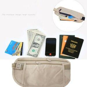 Women Portable Basic Zipper Pouch Hidden Wallet Passport Money Bags Waist Belt Bag Slim Secret Casual Solid Waist Packs(China)