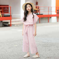 YourSeason Girls' Suit Clothes 2020 Children Striped Bow Two Piece Set Baby Girl Fashion O Neck Blouse And Loose Wide Leg Pants