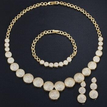 golden round cz charm wedding necklace set Dubai jewelry sets for women