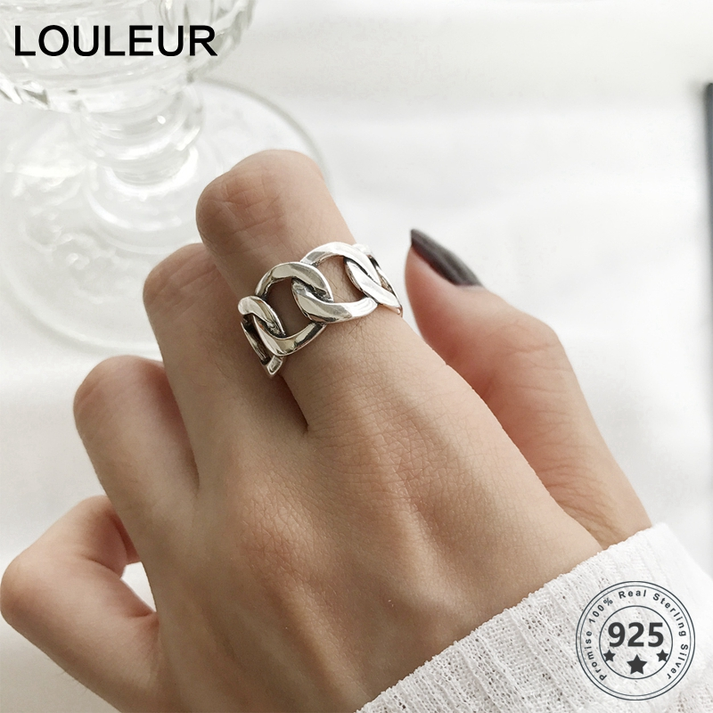 LouLeur 925 Sterling Silver Wide Chain Rings Silver Vintage Wild Square Strip Chain Open Rings For Women Silver 925 Jewelry Gift