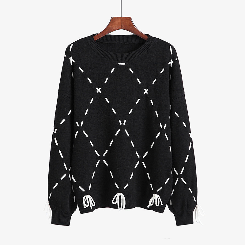 Korean-style Students Sweet Simple Blouses Autumn And Winter New Style Contrast Color Cross Straps Soft Base Sweater