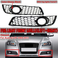A Pair Car Front Bumper Fog Light Lamp Honeycomb Grille Cover Honeycomb Mesh Grill For Audi A3 8P 2009 2010 2011 2012 2013
