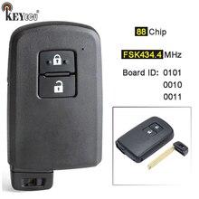 KEYECU FSK 433 / 434MHz 보드 ID 0010 0010 61A651 0101 2 버튼 Keyless Smart Remote Key Fob for ToyotaAuris Yaris Hybrid Auris