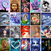 20 Pattern Round Diy Diamond Painting Cross Ctitch Kits 5D Diamond Mosaic Embroidery Flower Owl Mosaic Painting New Year Gift