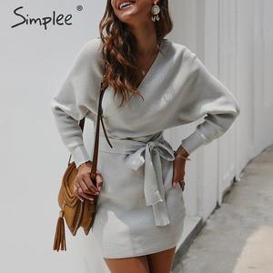 Image 4 - Simplee Vestido corto de punto para mujer, vestido con cuello en V y cinturón, vestido informal vintage de talle alto para oficina para Otoño e Invierno