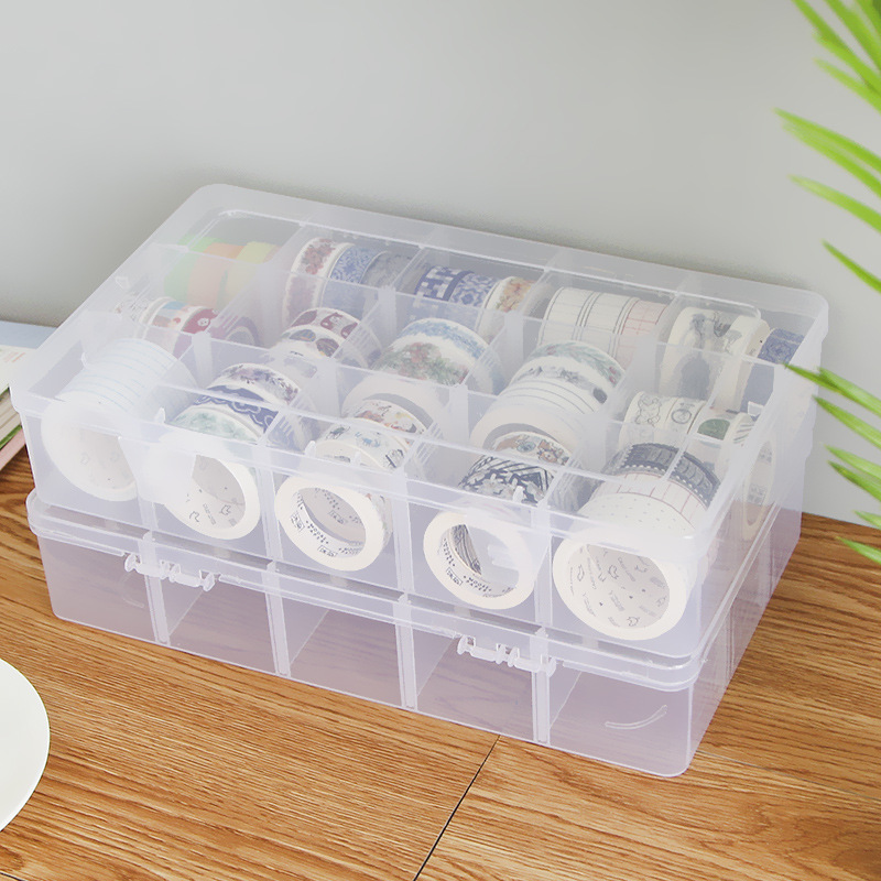 8/15/24/36 Grids Transparent Storage Box For Tape Washi Tape Sticker Sundries Pens DIY Craft Desk Organizer Containers