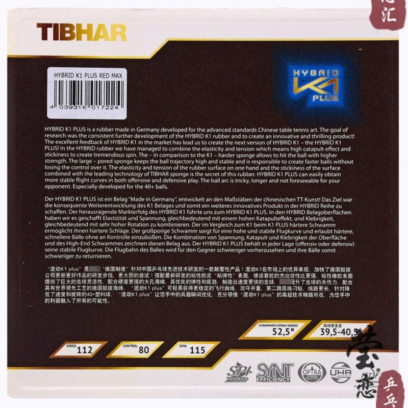 Tibhar hybride K1 plus caoutchouc de tennis de table collant haute vitesse et attaque rapide avec boucle - 2