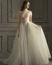 Vintage High Neck A-line Wedding Dresses 2020 Short Sleeves Lace Pearls Bridal Gowns Plus Size Vestido Novia