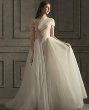 Старинные высокая шея-линии свадебные платья 2020 коротким рукавом кружева жемчуг свадебные платья плюс размер vestido Новия