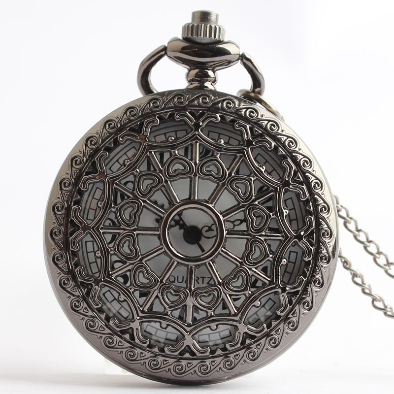Pocket & Fob Watches Black Hollow Out Heart Spider Net Design Quarzt Pocket Watch with Neckace Pendant for Men/women Gift