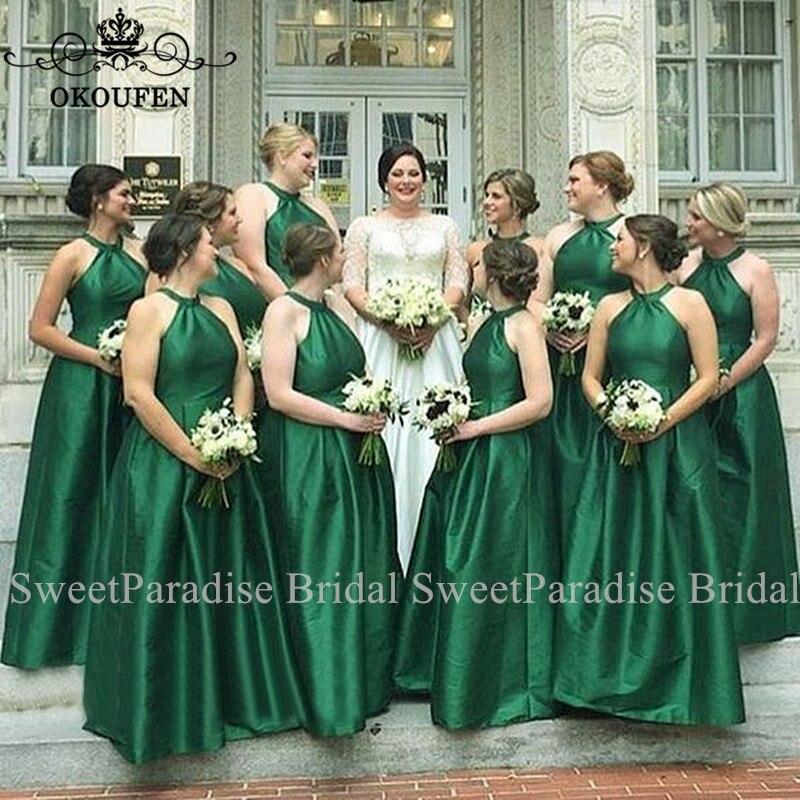 Green Satin Halter Long Bridesmaid Dresses For Women Vestido Madrinha Wholesale A Line Wedding Guest Dress Party Gown