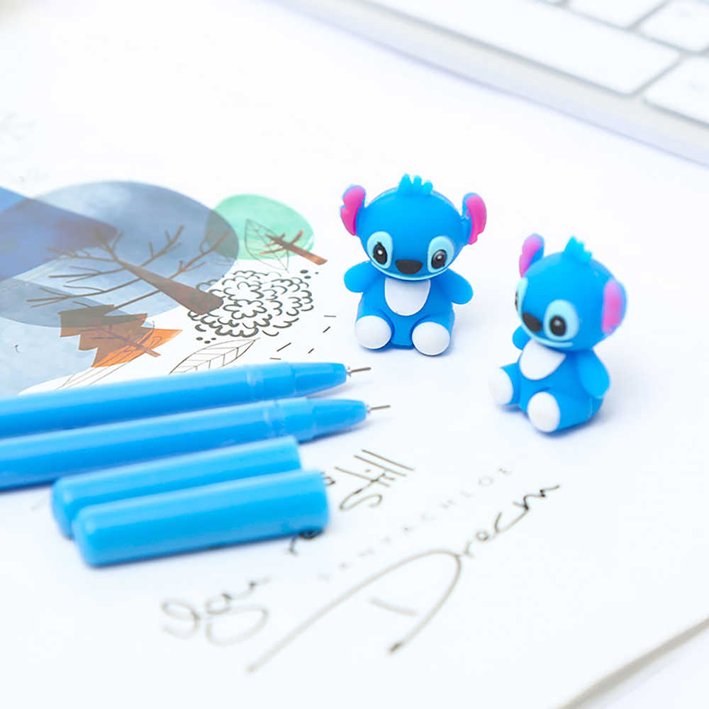 Koreański fantazyjne słodkie fajne Kawai Stitch długopis żelowy Anime niebieski Kawaii biurowe akcesoria biurowe stacjonarne powrót do zaopatrzenie szkolne rzeczy