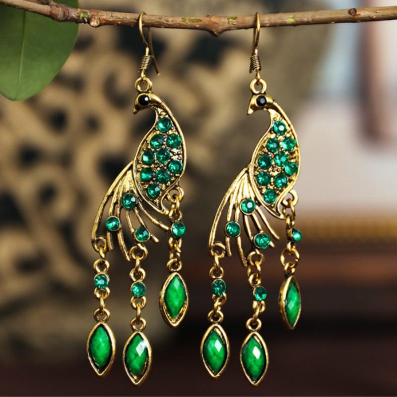 Ethnic Rhinestone Peacock Earrings For Women Bohemia Vintage Acrylic Resin Animal Long Earrings Holiday Jewelry