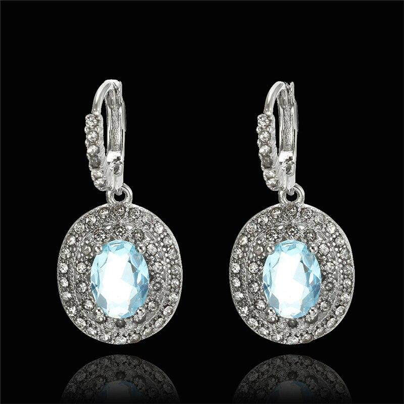 Fashion Women 39 s Oval Earrings Silver Sea Earrings Wedding Bridal Pendant Earrings Jewelry in Drop Earrings from Jewelry amp Accessories