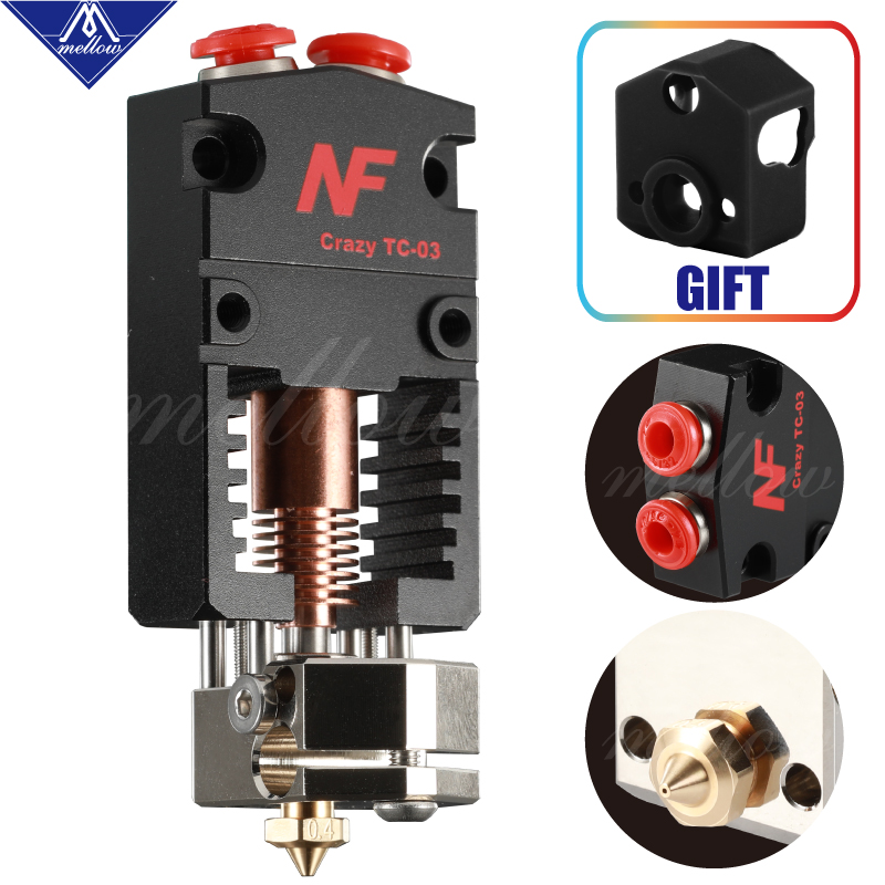 Newest Mellow NF-Crazy Tc-3 Cyclops And Chimera Extruder 2 In 1 Out 2 Colors Hotend Bowden With 3D Printer Titan/Bmg Extruder